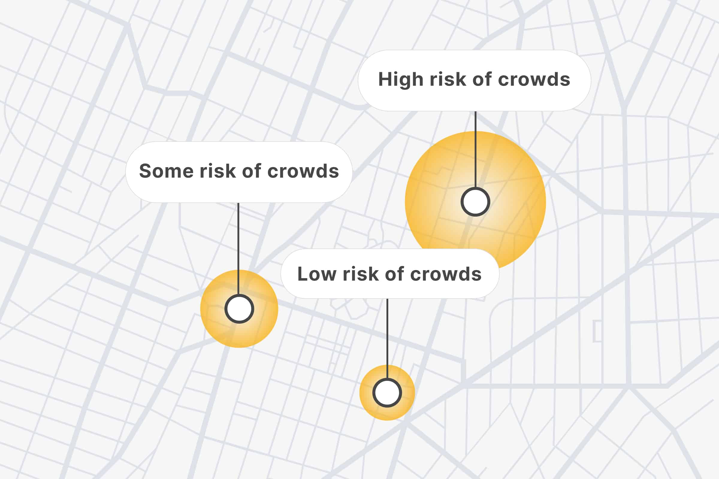 Map drawing with points showing low risk, medium risk, and high risk of transit crowds